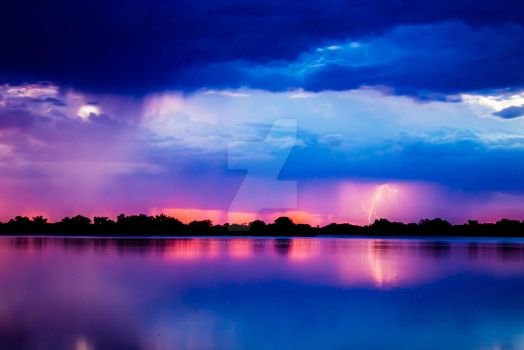 Lightning over Gum Bend Lake by Michael-Holmes