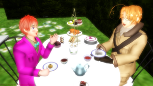 MMD_Tea-Party: 2p!England and Canada by Noir74
