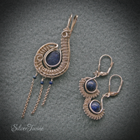 Wire Wrapped Lapis Lazuli Pendant and Earrings by SilverTwine