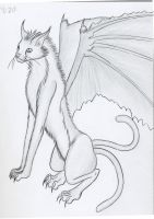Bat-Winged cat Demon by wulfiesacolyte