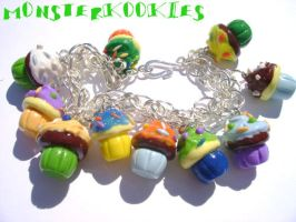 Cupcake Charm Bracelet by monsterkookies