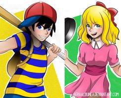 Earthbound: Paula and Ness portrait by AeraAlbunea
