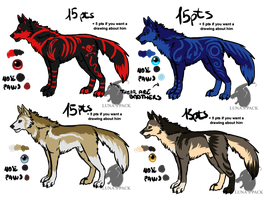 Wolves adoptables 17 _CLOSED_ by thelunapower