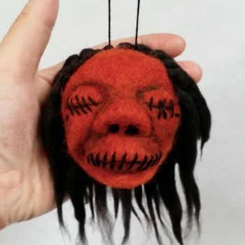 Orange Needle Felted Shrunkne Head by HeartfeltCreations