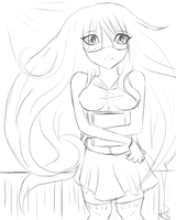 Anime girl sketch by techn0vert