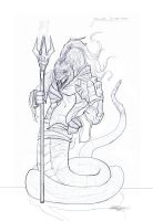 Female Snakewarrior Conceptual Linedrawing by Brollonks