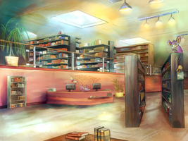 VN Collab Background: Library by Llaren