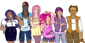MLP:Gijinka Line-up by AlekInexelsis
