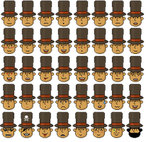 Professor Layton emoticons by NearlyHeadlessPup