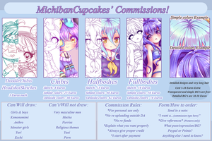Commission info sheet - OPEN by MichibanCupcakes