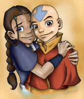 Aang and Katara Colored Final by AmiraElizabeth
