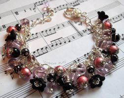 Rose pink, black and silver bracelet by TerraNovaJewels