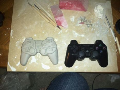 Ps3 controller clay sculpture by Aki-Hallgat