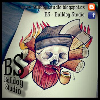 BS - Bulldog Studio - Lumberjack axe skull by TattooBulldog