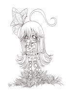 chibi girl and flowers... by sureya