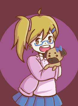 Cute girl with Pug by the-only-artist