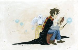 Harry Potter waiting for the train by merofi