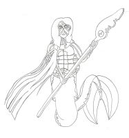 Merman turtle warrior (free to color line-art) by ColdHeartedCupid