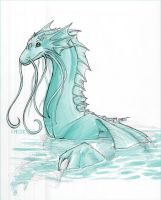 Xmas Sketch Gift: The Water Dragon by Khezix