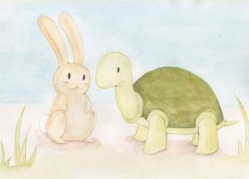 Rabbit and Turtle by Val-eithel