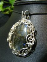 labradorite in silver spirals by BacktoEarthCreations