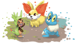 Sixth gen starters by shinyscyther