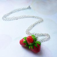 strawberries neckles by lemon-lovely