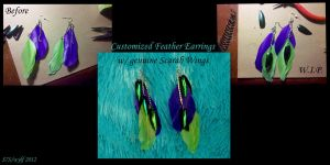 Custom Feather and Scarab Wing Earrings by wylf