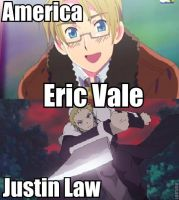 Voice Actor: America and Justin Law by Mask--Chan