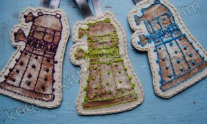 Doctor Who Embroidered Dalek Ornaments 2 by kookookitty