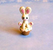 Bunny on a Cupcake Figurine by happysquidmuffin