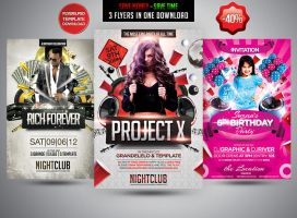 Party Flyer Bundle V4 by Grandelelo by Grandelelo