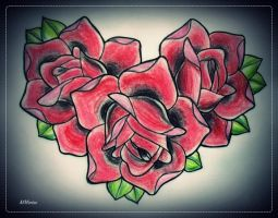 ROSES HEART tattoo flash by oldSkullLovebyMW