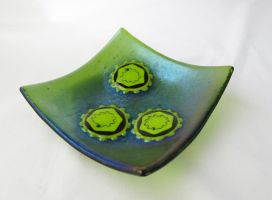 Hepatitis C Virus Fused Glass Dish by trilobiteglassworks