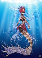 Nami, the Tidecaller, Red Lionfish Mermaid- WIP4 by Noctume