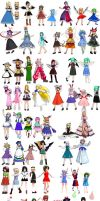 MMD all my Touhou Models by lililala2