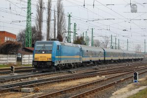 480 018 with a fast train in Gyor by morpheus880223
