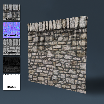 Old stone wall with top edge by DeepBlueDesign