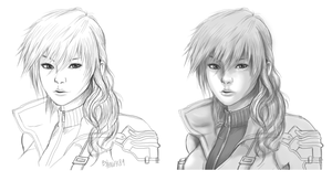 Lightning FFXIII sketch and shading by Angy89
