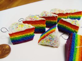 Rainbow Cake Slices Charms. by Darxen