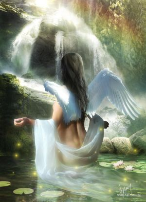 Angel And Waterfall by Cold-Tommy-Gin