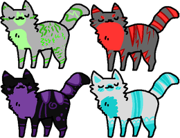 Pick Your Price:: A Splash of Color Cat Adoptables by PineapplesDogs