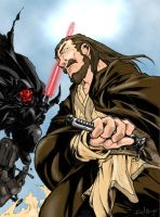qui gon vs darth maul colored by juggalo-gigolo