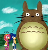 Sonic and Amy meet Totoro by catz537