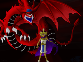 Atem and slifer by Nami-v