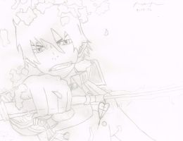 Rin Okumura with Sword by XDAnimeLoverXD