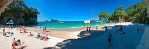 Cathedral Cove Pano 2 by mark-flammable