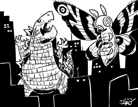 Godzilla v. Mothra [Inktober #21] by Soultree1