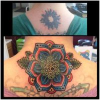 Neo Traditional Flower Tattoo Cover-Up by CandiceTheTattooist