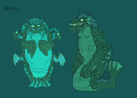 Mother Hydra and Father Dagon by Mara999
